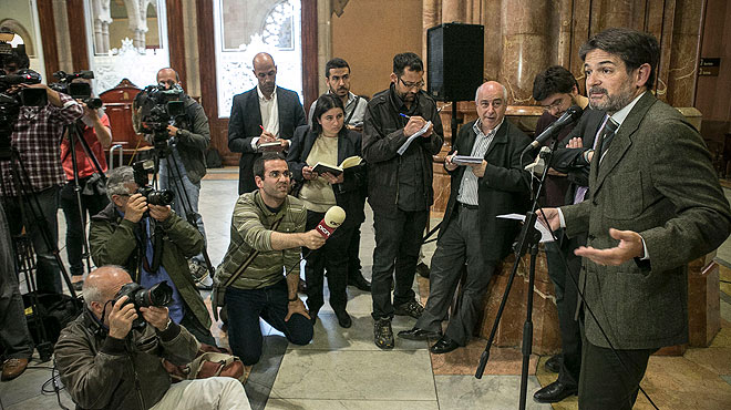 Compareixença dOriol Pujol després de declarar pel cas de les ITV a lAudiència de Barcelona.