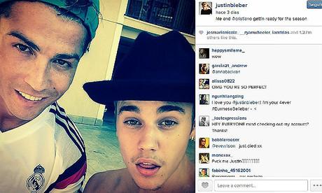 Bieber con Ronaldo, en Los �ngeles.