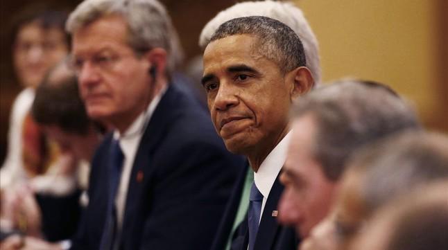 Obama, durante una reunión con el presidente Xi, este miércoles en Pekín.