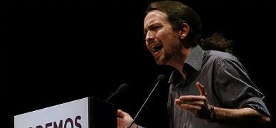 El l�der de Podemos, Pablo Iglesias, en un mitin celebrado en Madrid el pasado mes de febrero.