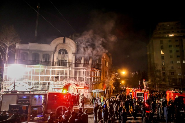 Incendio en la embajada saudí en Teherán.
