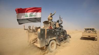 Un veh�culo militar iraqu� en los alrededores de Mosul.