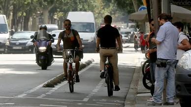 Carril bici de la calle de Girona, entre Aragó y València.