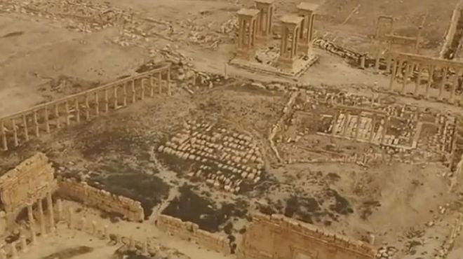 La ciutat de Palmira, a vista de dron