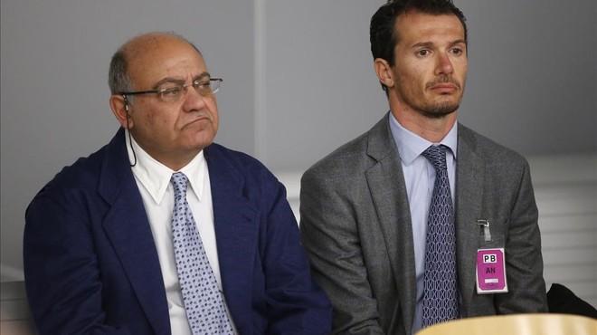 El expresidente de la CEOE y de Confederacion Empresarial de Madrid, Gerardo Diaz Ferran,junto al ultimo director de Viajes Marsans, Ivan Losada,comparecen ante la Audiencia Nacional.
