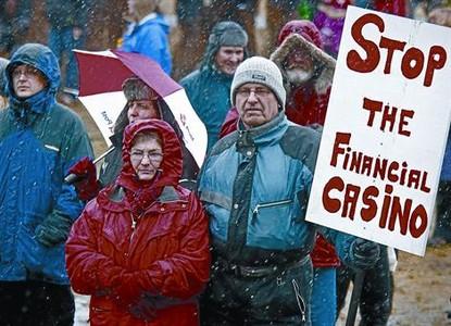 Protestas durante un referendo sobre un pago, en marzo del 2010.