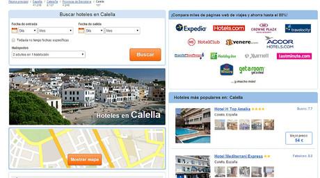 Un turoperador que ofrece alojamiento en Calella de la Costa mostrando im�genes de Calella de Palafrugell