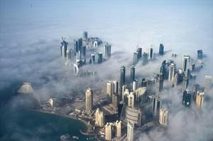 <br/>Vista aérea de Doha, la capital de Catar.