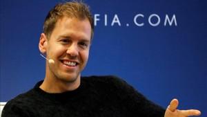 Vettel , en rueda de prensa antes de la Gala FIA