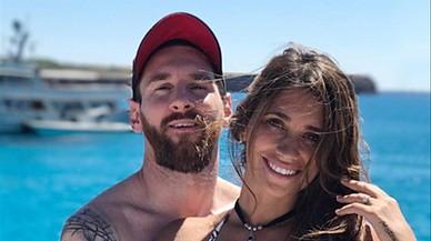 Messi y Antonella Rocuzzo.
