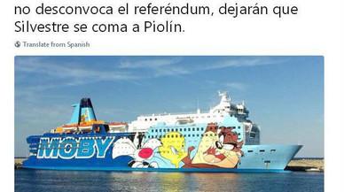 Twitter se'n riu del vaixell de Piolín que Interior ha enviat a Catalunya