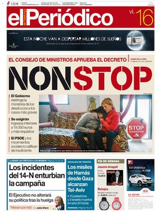 """""""NON STOP"""", tras el decreto contra los desahucios, en la portada de EL PERIÓDICO DE CATALUNYA"""
