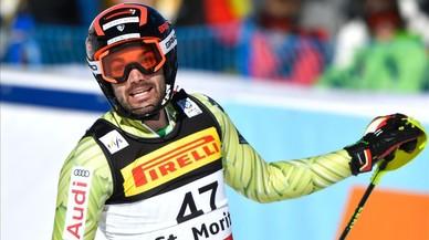 Quim Salarich, tras acabar la segunda manga, este domingo, en Saint Moritz.