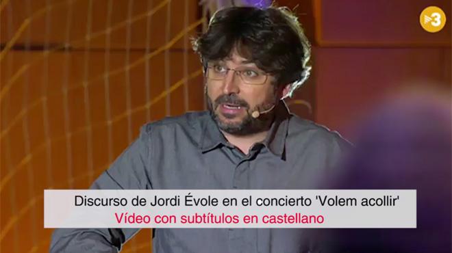 Segunda intervención de Jordi Évole, en el concierto por los refugiados, subtitulada en castellano
