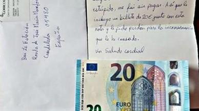 Un 'simpa' que no va ser: un client envia una carta amb 20 euros a un bar d'Àvila després de marxar sense pagar