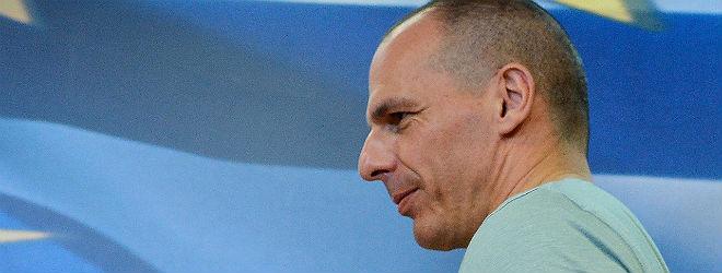 Yanis Varoufakis, anoche, en la rueda de prensa en la que valor� los resultados del refer�ndum griego.