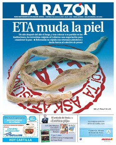 La portada de 'La Razn' del 21-10-2012 gener comentarios en Twitter