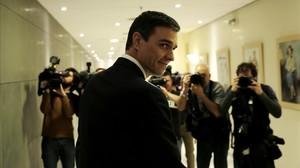 Pedro Sánchez, tras su reunión con el Rey, este viernes en el Congreso.