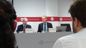 Valls y Rovira en la presentación de estudio trimestral de la Cambra de Comerç.