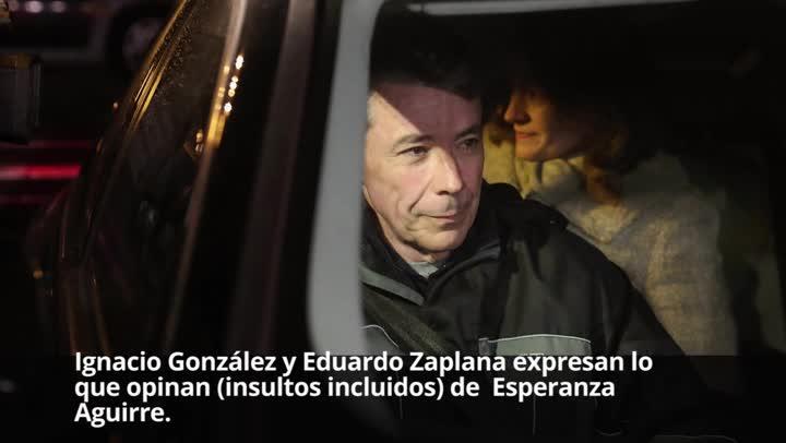 Ignacio González y Eduardo Zaplana expresan lo que opinan (insultos incluidos) de Esperanza Aguirre.