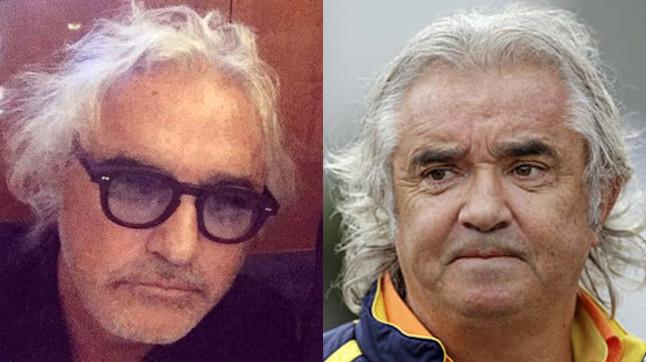 Flavio Briatore tras su operaci�n de cirug�a (izquierda) y en una imagen anterior.�