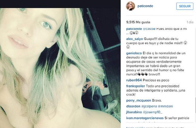 Patricia Conde, y su desnudo en Instagram.