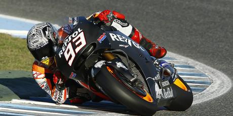 El piloto de Honda Marc M�rquez, durante los entrenamientos en Jerez