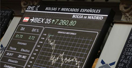 Grfico con la cotizacin del IBEX 35, hoy, en la Bolsa de Madrid.