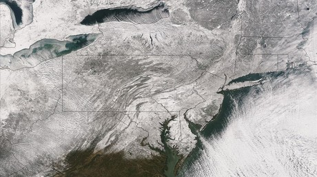 Imagen de satélite de Estados Unidos congelado.