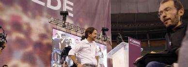 Iglesias y Echenique, el s�bado en la asamblea ciudadana de Podemos.