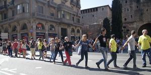Manifestació de funcionaris de Justícia a la Via Laietana davant Governació, el 2013.