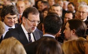 Mariano Rajoy i Pablo Iglesias, en lacte institucional del Dia de la Constitució, al Congrés.