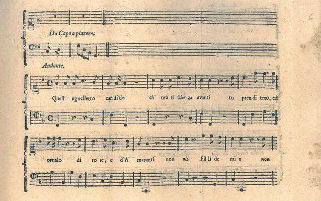Fragmento del manuscrito de la cantata escrita por Mozart y Salieri