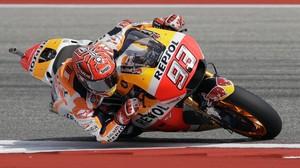 Marc Márquez (Honda), en su vuelta rápida de hoy en Austin (Texas, EEUU), su circuito preferido.