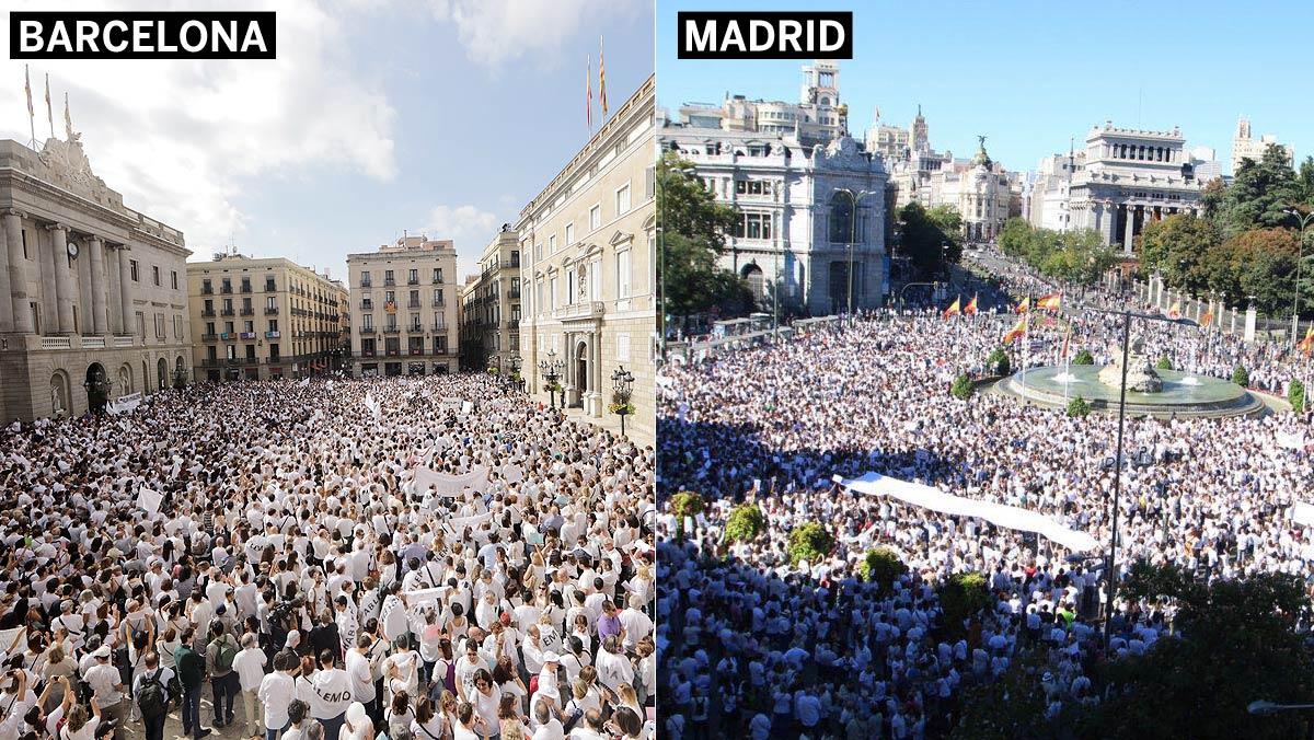 Concentraciones en Barcelona y Madrid por el diálogo, este sábado