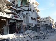 Edificios destrozados en una calle de Al Bab, en el noroeste de Siria, el 23 de febrero.