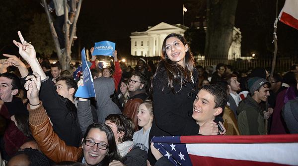 Los dem�cratas celebraban en todos los rincones del pa�s el triunfo de Obama