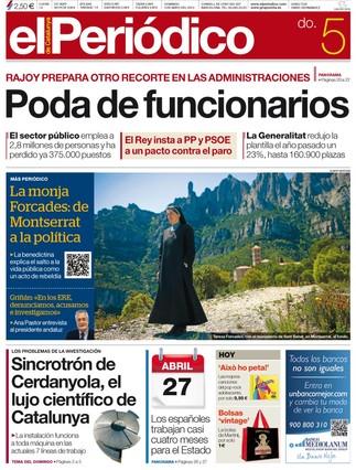 """""""Poda de funcionarios"""", en la portada de EL PERI�DICO DE CATALUNYA"""