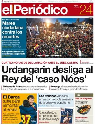 """""""Urdangarin desliga al Rey del 'caso Nóos"""", en la portada de EL PERIÓDICO DE CATALUNYA"""
