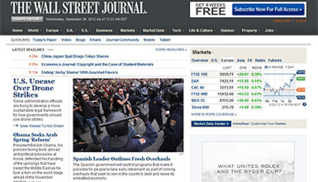 Captura de la web del diario 'The Wall Street Journal' en la que aparece el artculo dedicado a Espaa. 