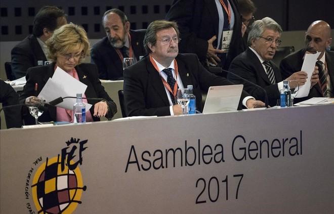Larrea, durante la asamblea de este miércoles en la federación