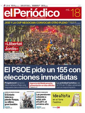 La portada de EL PERIÓDICO del 18 de octubre del 2017.