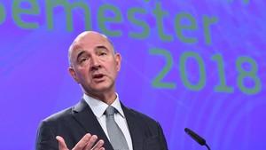 Rueda de prensa de Pierre Moscovici en Bruselas.