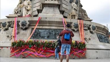 L'estàtua de Colom apareix amb pintades contra el Dia de la Hispanitat