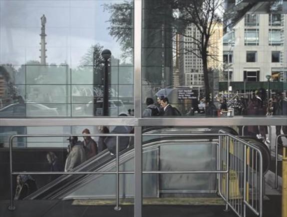 'Subway entrance' (2015). Aunque lo parezca, no es una fotografía sino un óleo.