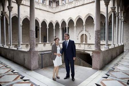 Mas amb Forcadell, al Palau de la Generalitat, laDiada del 2013