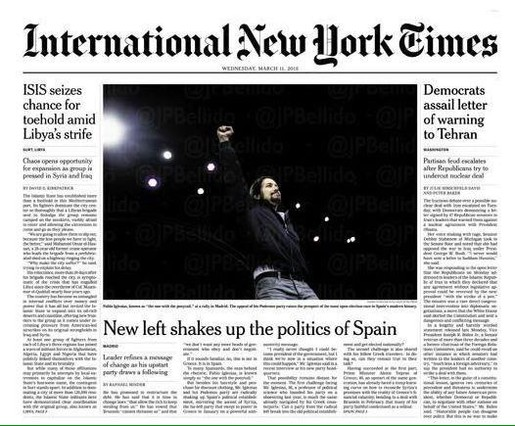'The New York Times' dedica su portada a Pablo Iglesias