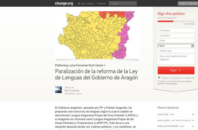 Una petici�n en Change.org pide la paralizaci�n de la reforma de la Ley de Lenguas del Gobierno de Arag�n