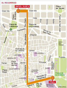 El recorrido de la manifestacin independentista.