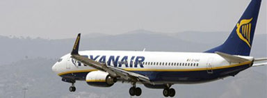 Un avin de la flota de Ryanair.